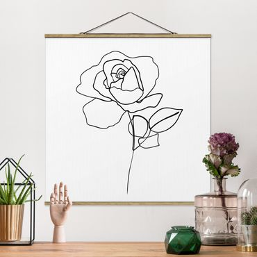 Stoffbild mit Posterleisten - Line Art Rose Schwarz Weiß - Quadrat 1:1
