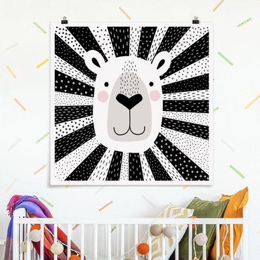 Poster - Tierpark mit Mustern - Löwe - Quadrat 1:1
