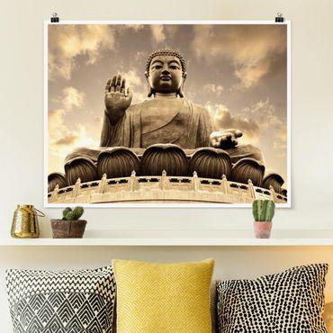 Poster - Großer Buddha Sepia - Querformat 3:4