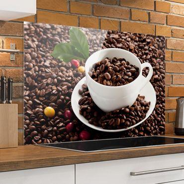 Spritzschutz Glas - Kaffeetasse mit gerösteten Kaffeebohnen - Querformat - 3:2