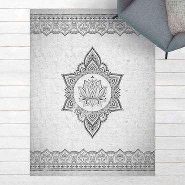 Vinyl-Teppich - Mandala Lotus Betonoptik - Hochformat 3:4