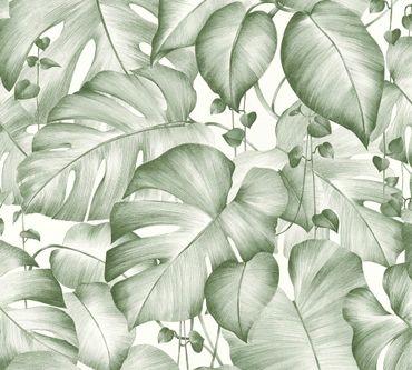 Livingwalls Mustertapete Colibri in Grün, Weiß