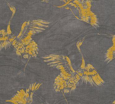 A.S. Création Mustertapete Linen Style in Gelb, Grau, Schwarz