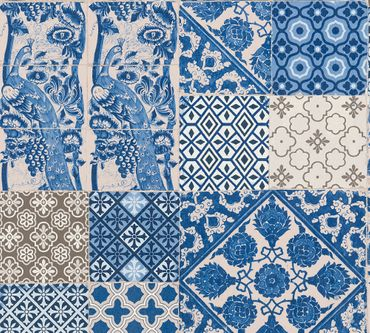 Livingwalls Mustertapete Metropolitan Stories Anke & Daan - Amsterdam in Blau, Creme, Lila