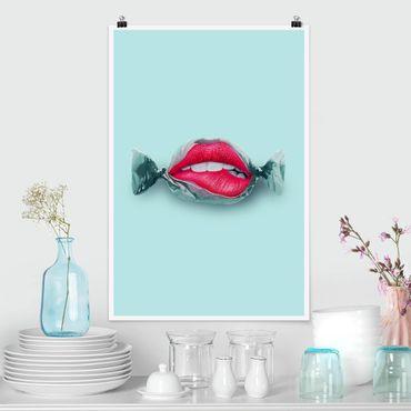 Poster - Jonas Loose - Bonbon mit Lippen - Hochformat 3:2