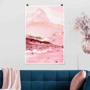 Poster - Abstrakte Berge Rosa mit Goldene Linien - Hochformat 3:2