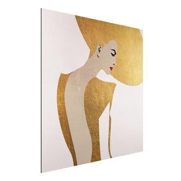 Aluminium Print - Dame mit Hut in Gold - Quadrat 1:1