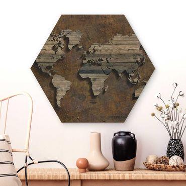 Hexagon Bild Holz - Holz Rost Weltkarte