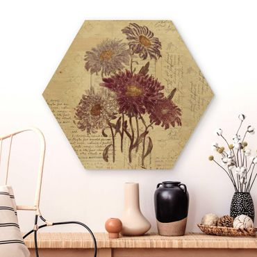 Hexagon Bild Holz - Vintage Blumen mit Handschrift