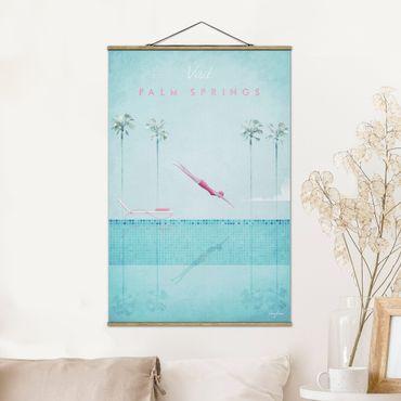 Stoffbild mit Posterleisten - Reiseposter - Palm Springs - Hochformat 3:2