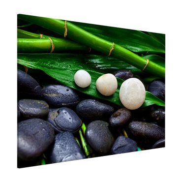 Magnettafel - Grüner Bambus mit Zen Steinen - Memoboard Querformat 3:4