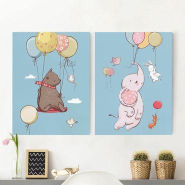 Leinwandbild 2-teilig - Süße Tiere fliegen am Luftballon - Hoch 4:3