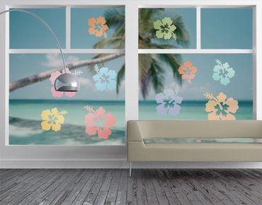 Fensterfolie - Fenstersticker No.547 Hibiskusblüten in Pastell - Fensterbilder