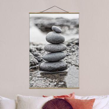 Stoffbild mit Posterleisten - Steinturm im Wasser - Hochformat 3:2