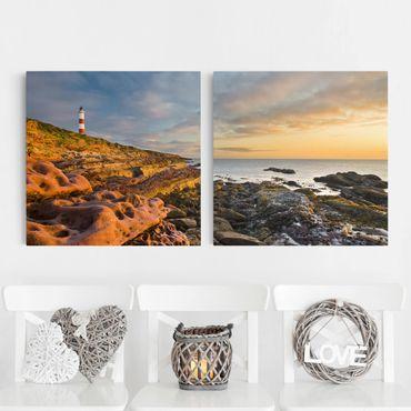 Leinwandbild 2-teilig - Tarbat Ness Meer & Leuchtturm bei Sonnenuntergang - Quadrate 1:1