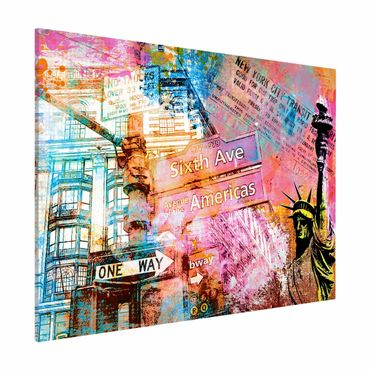 Magnettafel - Sixth Avenue New York Collage - Memoboard Querformat 3:4