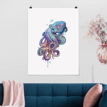 Poster - Illustration Oktopus Violett Türkis Malerei - Hochformat 4:3