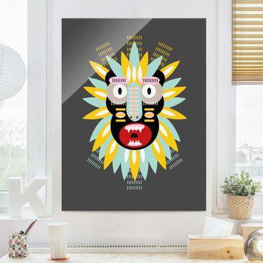 Glasbild - Collage Ethno Maske - King Kong - Hochformat 4:3
