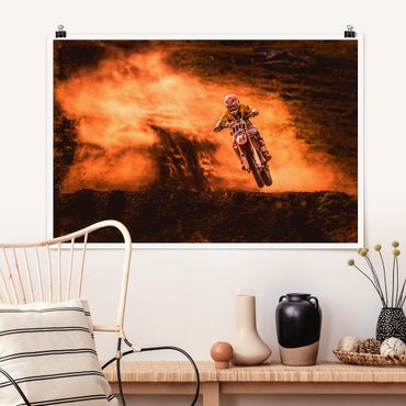 Poster - Motocross im Staub - Querformat 2:3