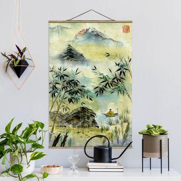 Stoffbild mit Posterleisten - Japanische Aquarell Zeichnung Bambuswald - Hochformat 2:3