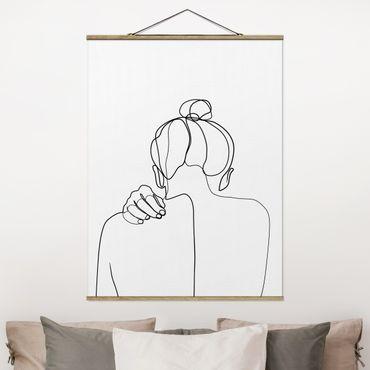 Stoffbild mit Posterleisten - Line Art Frau Nacken Schwarz Weiß - Hochformat 3:4