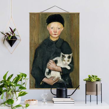 Stoffbild mit Posterleisten - Paula Modersohn-Becker - Knabe mit Katze - Hochformat 2:3
