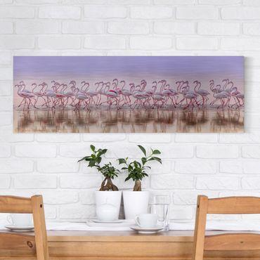 Leinwandbild - Flamingo Party - Panorama 1:3