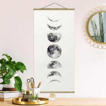 Stoffbild mit Posterleisten - Sieben Monde - Hochformat 2:1