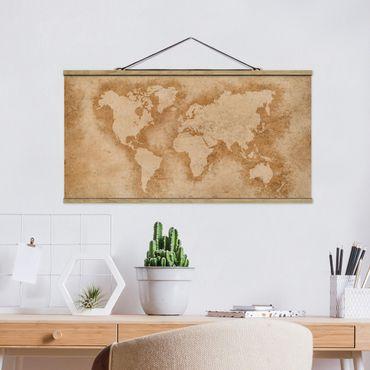 Stoffbild mit Posterleisten - Antike Weltkarte - Querformat 1:2