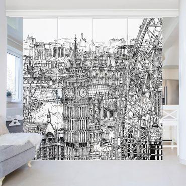 Schiebegardinen Set - Stadtstudie - London Eye - Flächenvorhang