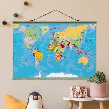 Stoffbild mit Posterleisten - The World´s Countries - Querformat 2:3