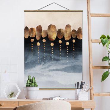 Stoffbild mit Posterleisten - Elisabeth Fredriksson - Abstrakte goldene Steine - Hochformat 4:3
