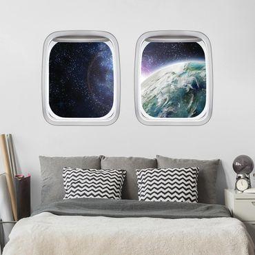 3D Wandtattoo - Doppelfenster Flugzeug Galaxy Light