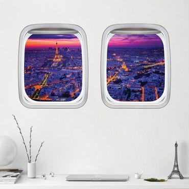 3D Wandtattoo - Doppelfenster Flugzeug Paris bei Nacht