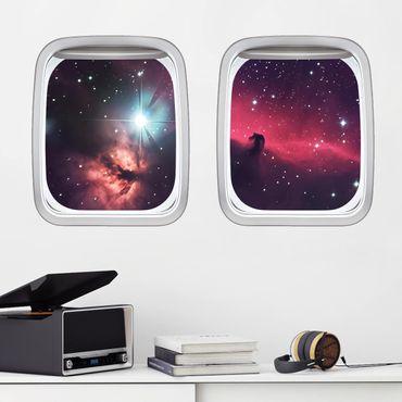 3D Wandtattoo - Doppelfenster Flugzeug Pferd im Weltraum