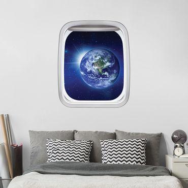 3D Wandtattoo - Fenster Flugzeug Erde im Weltall