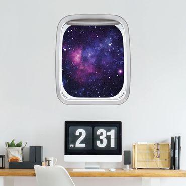 3D Wandtattoo - Fenster Flugzeug Galaxie