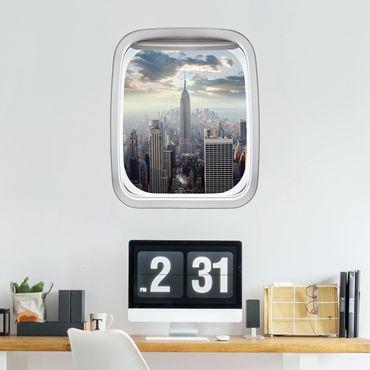 3D Wandtattoo - Fenster Flugzeug Sonnenaufgang in New York