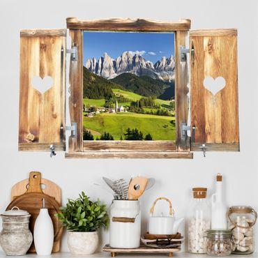 3D Wandtattoo - Fenster mit Herz Geislerspitzen in Südtirol