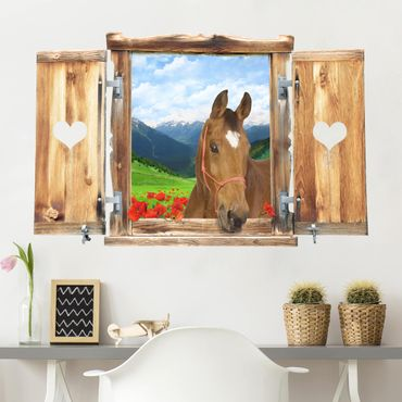 3D Wandtattoo - Fenster mit Herz und Pferd Alpenwiese