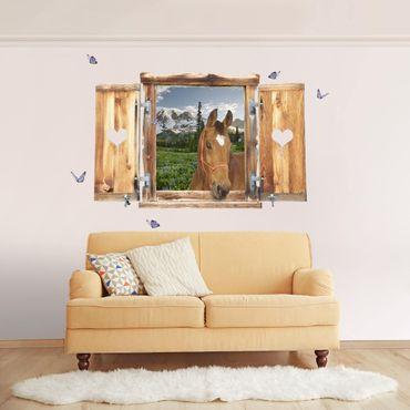3D Wandtattoo - Fenster mit Herz und Pferd Bergblick Wiesenpfad