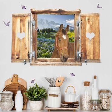 3D Wandtattoo - Fenster mit Herz und Pferd Bergwiese mit Blumen