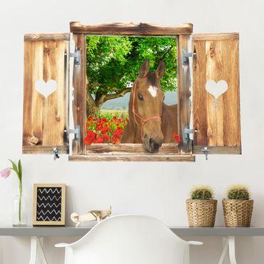 3D Wandtattoo - Fenster mit Herz und Pferd Sommerwiese