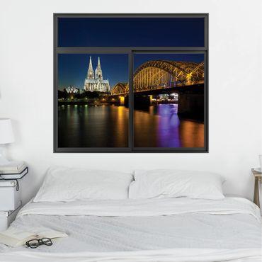3D Wandtattoo - Fenster Schwarz Köln bei Nacht