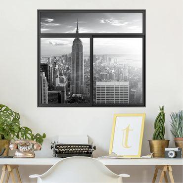 3D Wandtattoo - Fenster Schwarz Manhattan Skyline
