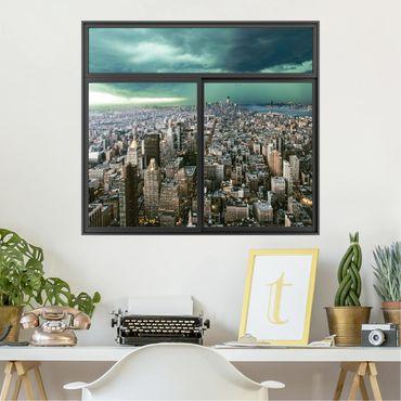 3D Wandtattoo - Fenster Schwarz Skyline New York im Gewitter