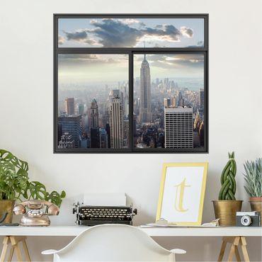 3D Wandtattoo - Fenster Schwarz Sonnenaufgang in New York