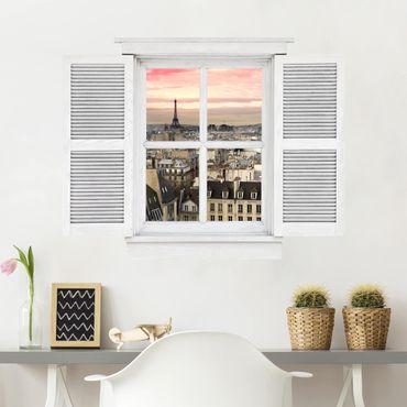3D Wandtattoo - Flügelfenster Paris hautnah