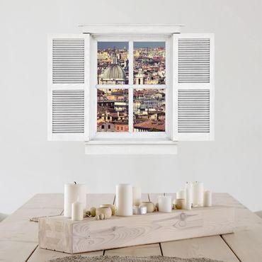 3D Wandtattoo - Flügelfenster Rome Rooftops