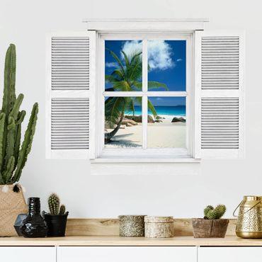 3D Wandtattoo - Flügelfenster Traumstrand